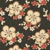 Little Greene Blossom Orange / Chocolate Wallpaper
