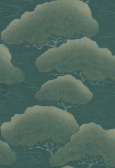 Little Greene Blue Pine Blue Green / Gold Wallpaper - Product code: 275PIBLUEP
