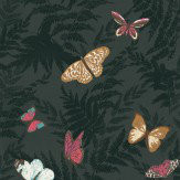 Nina Campbell Farfalla Black / Pink / Gold Wallpaper