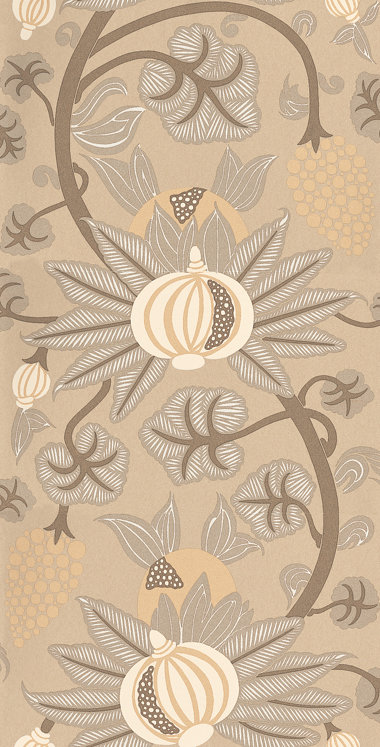 Osborne & Little Maharani Brown / Cream Wallpaper - Product code: W6022/07