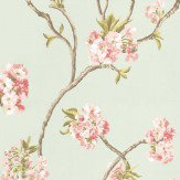 Nina Campbell Orchard Blossom Pink / Blue Green Wallpaper