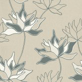 Duro Klocklilja Charcoal / White Wallpaper