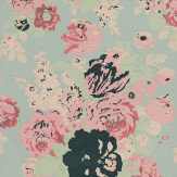 Anna French Bouquet Pink / Green / Silver Foil Wallpaper