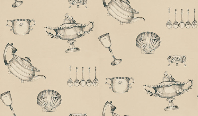 Image of Mulberry Home Wallpapers Family Silver, FG058A117