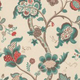 Sanderson Roslyn Teal / Red Wallpaper