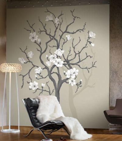 Magnolia tree mural by mr perswall wallpaper direct for Tree wallpaper for walls
