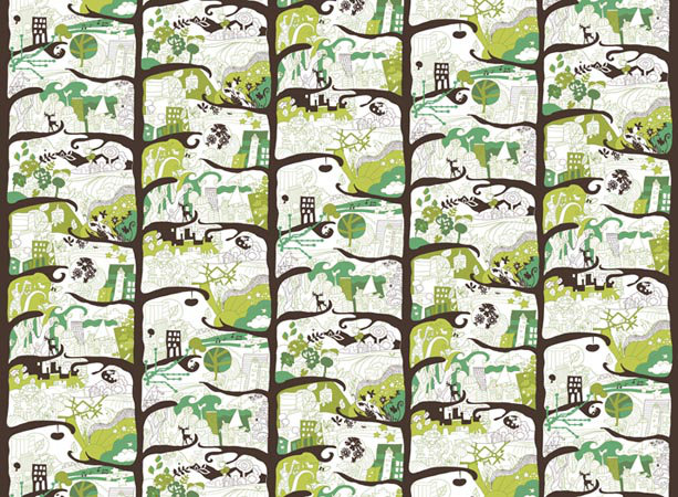 Mr Perswall City Trees mural - Product code: P032201-W