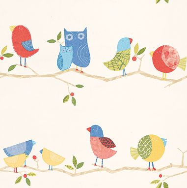 What A Hoot By Harlequin Red Blue Yellow Wallpaper Direct
