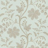Little Greene Bedford Square Duck Egg / Gold Wallpaper