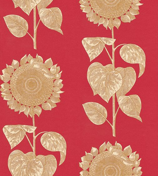 Sanderson Palladio Sunflower Gold / Red Wallpaper main image