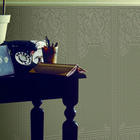 Oriental Dado Panel Wallpaper - Paintable White - by Anaglypta