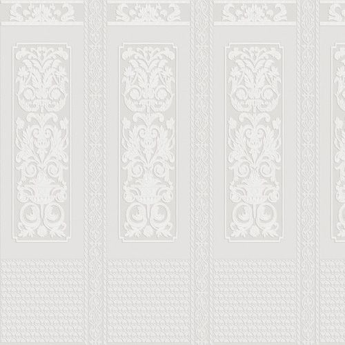 Rococo Dado Panel Wallpaper - Paintable White - by Anaglypta