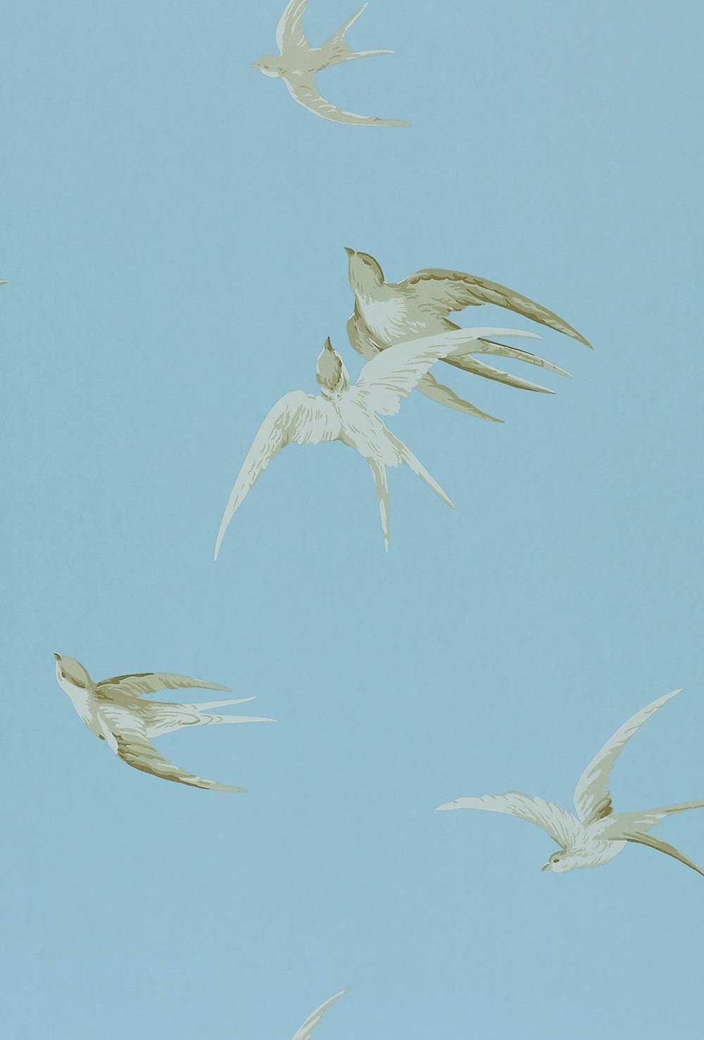 Sanderson Swallows Blue Wallpaper main image