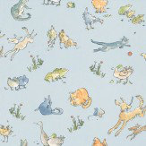 Osborne & Little Quentin's Menagerie Sky Blue Wallpaper - Product code: W6063/02
