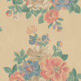 Sanderson Midsummer Rose Blue / Peach / Mustard Wallpaper - Product code: DCAVMI102