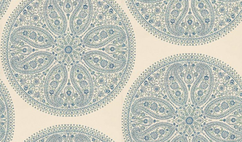 Paisley circles by sanderson blue silver wallpaper direct