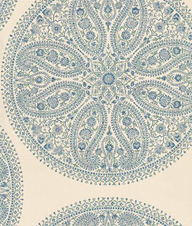 Sanderson Paisley Circles Blue / Silver Wallpaper main image