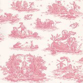 Laura Ashley Toile  Cerise  Wallpaper