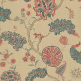 Sanderson Palampore Antique Teal / Red Wallpaper - Product code: DCAVPA104