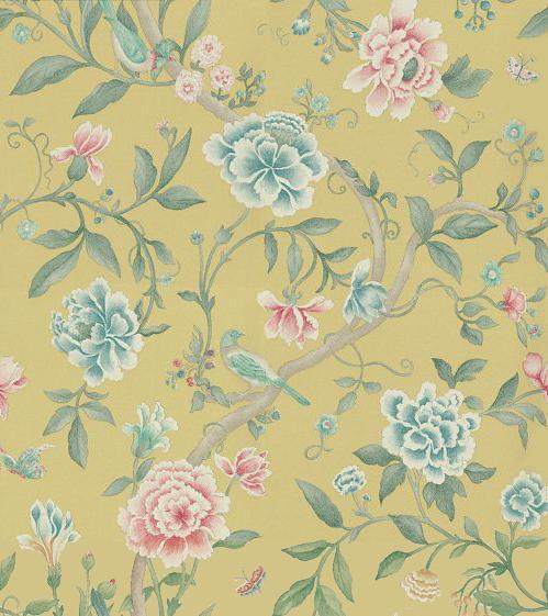 Sanderson Porcelain Garden Rose/Linden Wallpaper main image