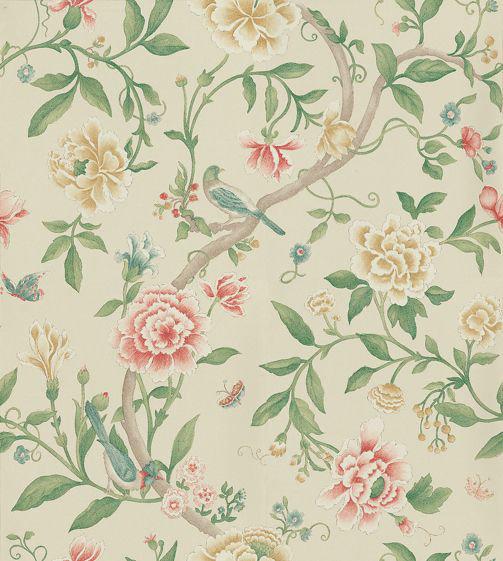 Sanderson Porcelain Garden Red/Beige Red / Beige Wallpaper - Product code: DCAVPO104