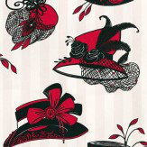 Opus Muras Harriette Candy Pink & Lipstick Black / Red / White Wallpaper