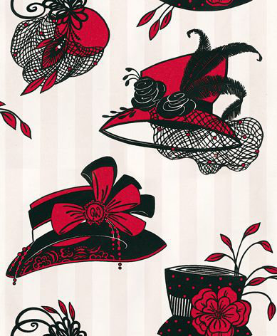 Opus Muras Harriette Candy Pink & Lipstick Black / Red / White Wallpaper main image