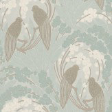 Harlequin Love Birds Duck Egg / Silver Wallpaper