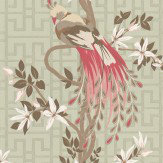 Nina Campbell Paradiso Pink / Cream / Duck Egg Wallpaper - Product code: NCW4030/02