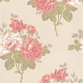 Nina Campbell Rosa Alba Pink / Cream Wallpaper