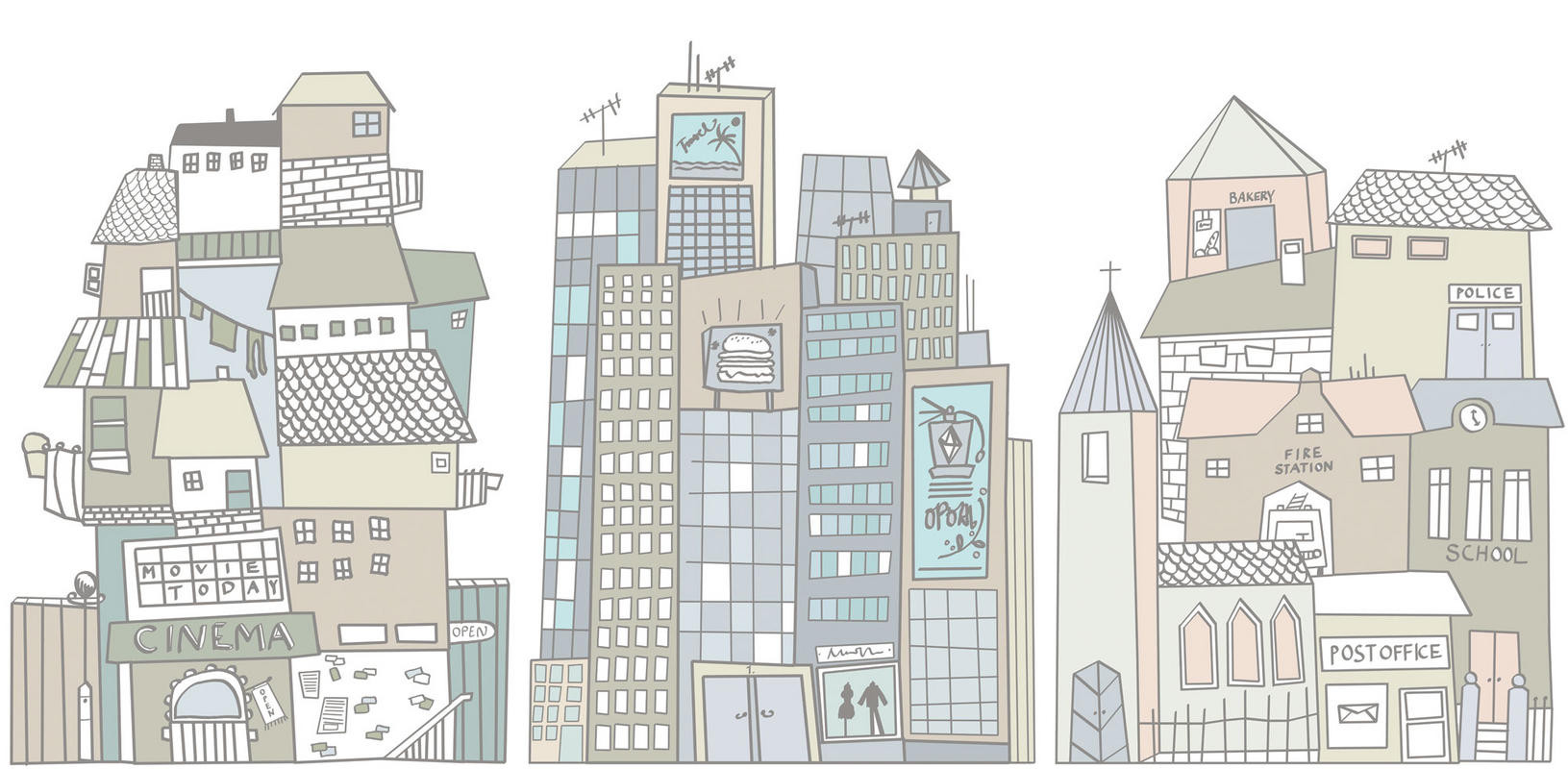 Cartoon city by mr perswall wallpaper direct