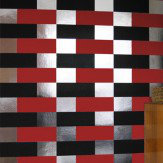 Erica Wakerly Block Black Red Silver Wallpaper