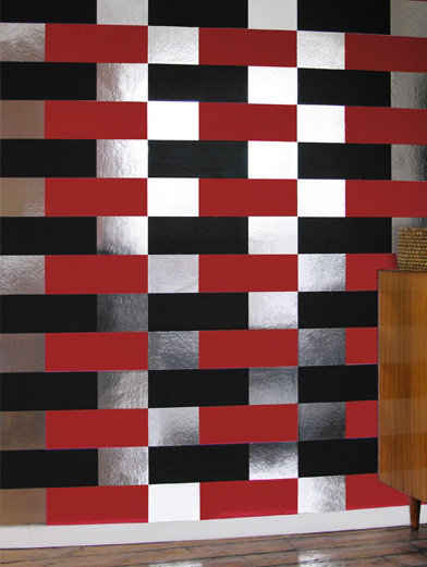 Image of Erica Wakerly Wallpapers Block Black Red Silver, BLO B/R/S