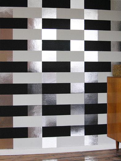 Erica Wakerly Block Black White Silver Wallpaper - Product code: BLO B/W/S