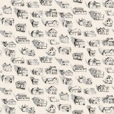 Erica Wakerly Houses Black Grey Cream Wallpaper