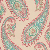 Osborne & Little Nizam Fuchsia / Peacock Wallpaper - Product code: W6179/01