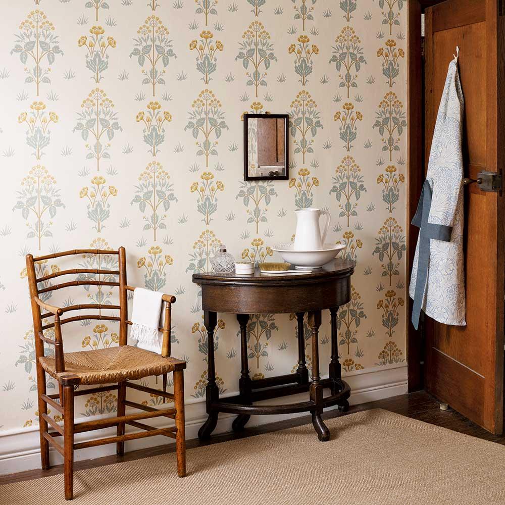 Meadow Sweet Wallpaper - Gold / Slate - by Morris