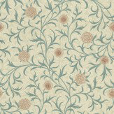 Morris Scroll Blue Green / Neutral Wallpaper - Product code: 210362