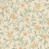Morris Scroll Green / Peach / Grey Wallpaper