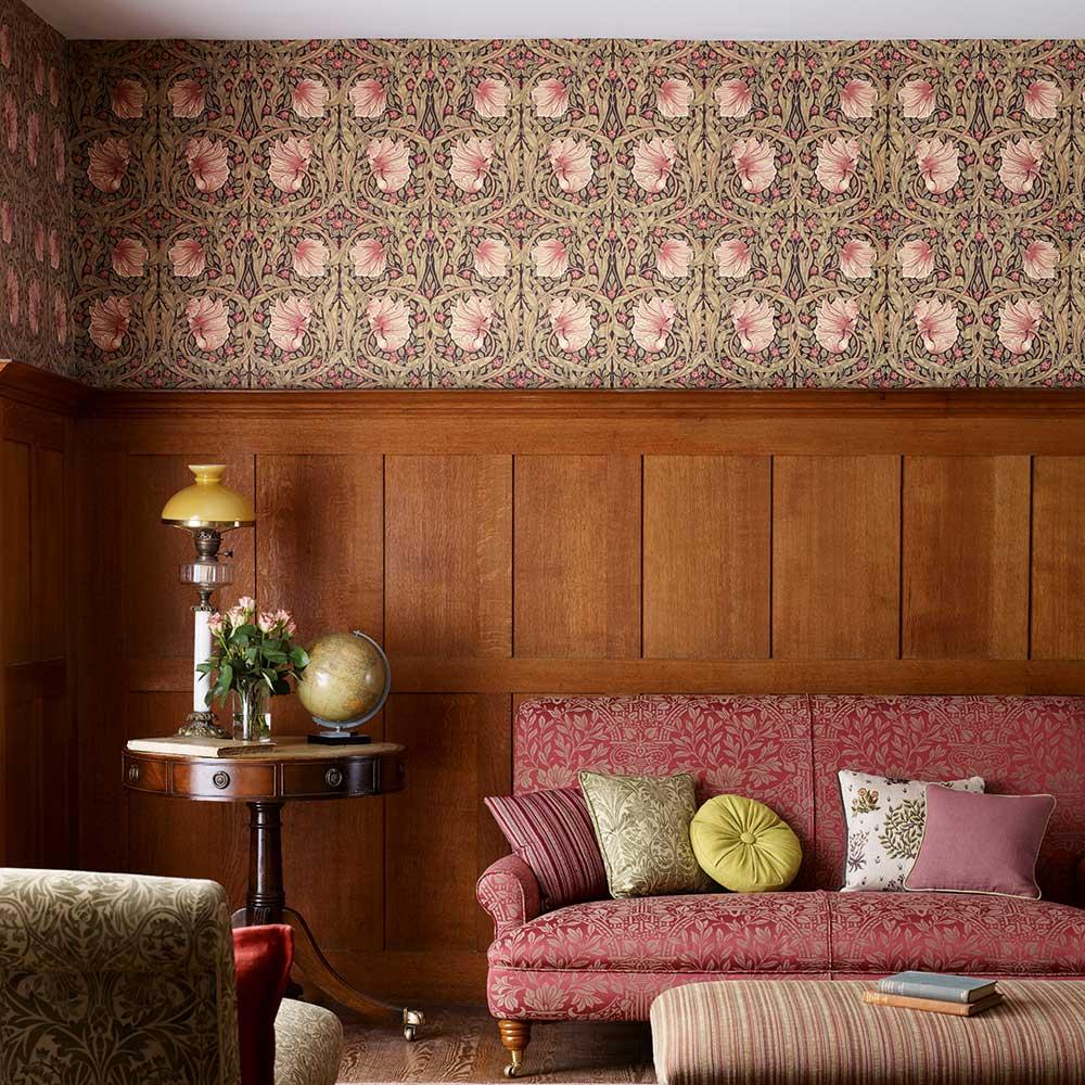 Pimpernel Wallpaper - Brick / Olive - by Morris
