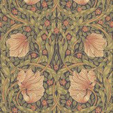 Morris Pimpernel Green / Peach Wallpaper - Product code: 210387