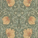 Morris Pimpernel Peach / Blue / Green Wallpaper