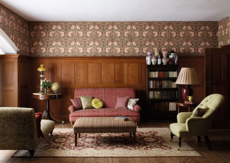 Morris Pimpernel Brown / Red / Cream Wallpaper - Product code: 210390