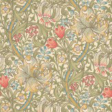 Morris Golden Lily Green / Blue / Pink Wallpaper