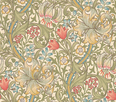 Morris Golden Lily Green Blue Pink Wallpaper Main Image
