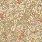 Morris Golden Lily Green / Purple / Red Wallpaper - Product code: 210399