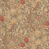 Morris Golden Lily Green / Yellow / Red Wallpaper - Product code: 210400