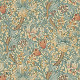 Golden Lily By Morris Green Blue Pink Wallpaper