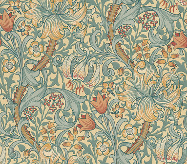 Morris Golden Lily Yellow / Gold / Blue Green Wallpaper - Product code: 210401