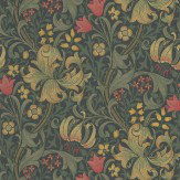 Morris Golden Lily Red / Cream / Dark Green Wallpaper - Product code: 210403